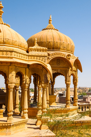 Architecture of Vyas Chhatri in Jaisalmer fort, Rajasthan, India. Stock Photo - 121090172