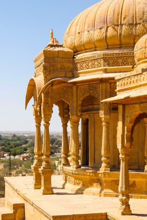 Architecture of Vyas Chhatri in Jaisalmer fort, Rajasthan, India. Stock Photo - 121090173
