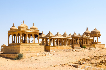Architecture of Vyas Chhatri in Jaisalmer fort, Rajasthan, India. Stock Photo - 121090180