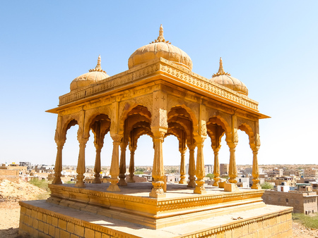 Architecture of Vyas Chhatri in Jaisalmer fort, Rajasthan, India. Stock Photo - 121097463