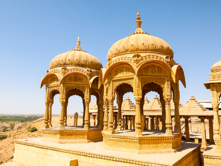 Architecture of Vyas Chhatri in Jaisalmer fort, Rajasthan, India. Stock Photo - 121097474