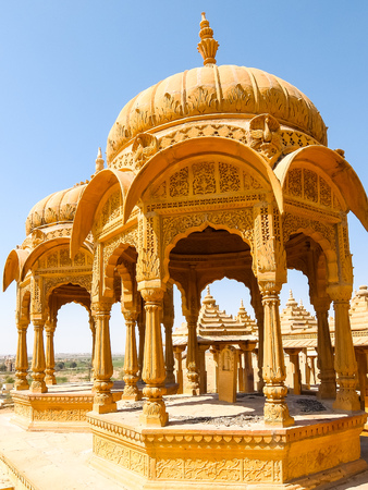 Architecture of Vyas Chhatri in Jaisalmer fort, Rajasthan, India. Stock Photo - 121097496