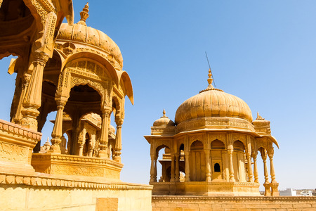 Architecture of Vyas Chhatri in Jaisalmer fort, Rajasthan, India. Stock Photo - 121097489