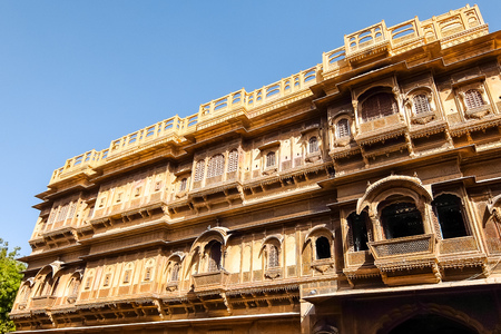 Jaisalmer, India - Circa March, 2018. Beautiful architecture of Patwon Ki Haveli in Jaisalmer. Stock Photo - 121059027