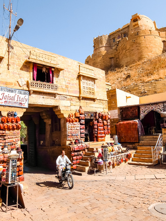 Jaisalmer, India - Circa March, 2018. Street shop in Jaisalmer.