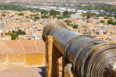 Jaisalmer, India - Circa March, 2018. Ancient cannon in Jaisalmer Fort.