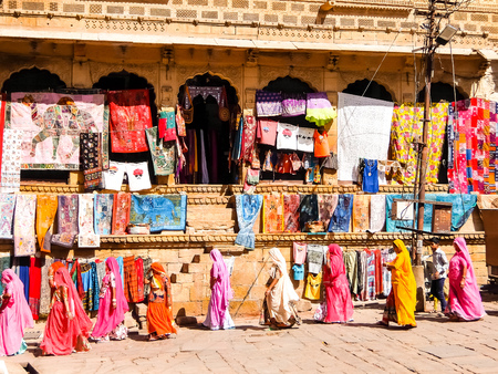 Jaisalmer, India - Circa March, 2018. Street shop in Jaisalmer. Stock Photo - 122542077