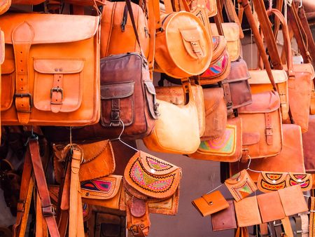 Jaisalmer, India. Beautiful bags for sale at the street shop.