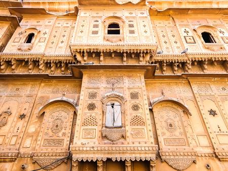 Jaisalmer, India - Circa March, 2018. Beautiful architecture of Patwon Ki Haveli in Jaisalmer.