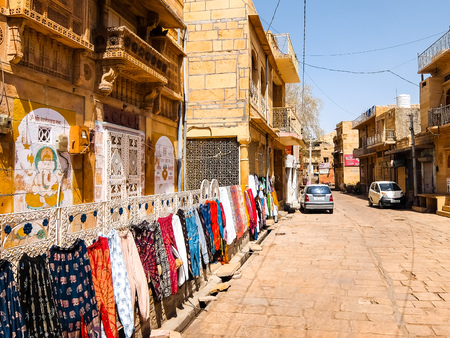 Jaisalmer, India - Circa March, 2018. Street shop in Jaisalmer fort.