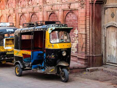 Bikaner, India - Circa March 2018. Rickshaw cab on the streets of Bikaner. Stock Photo