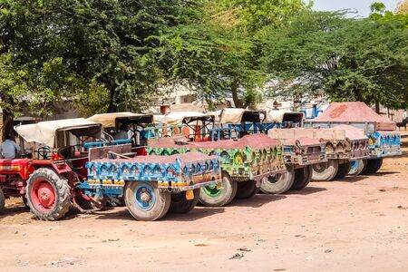 Bikaner, India - Circa March 2018. Famous colorful painted trucks on the roadside.