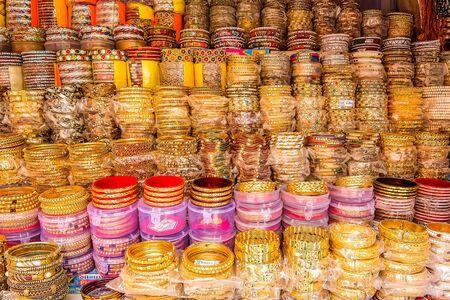Rishikesh, India - Circa April 2018. Bracelets on street market.