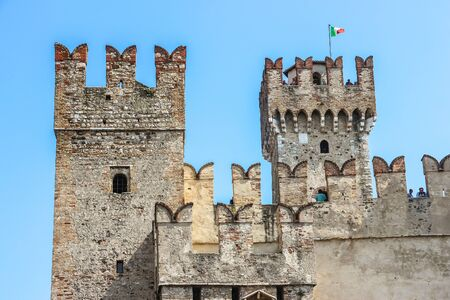 Sirmione, Italy - Circa September 2018. Beautiful view of Scaligero Castle in sunny day.