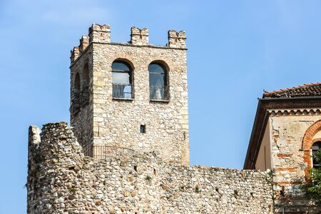 Desenzano del Garda, Italy - Circa September 2018. View of Desenzanos Castle (Castello di Desenzano del Garda) in sunny day.
