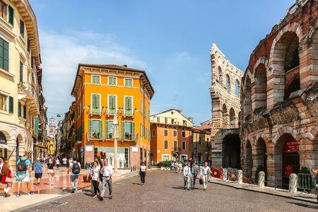 Verona, Italy - Circa September 2018. Beautiful streets of Verona in sunny day.