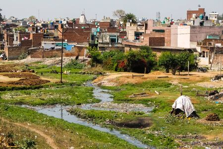 Saharanpur, India - Circa March 2018. Polluted riverbank of Dhamola river in Saharanpur. 版權商用圖片