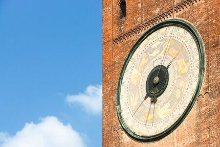 Beautiful architecture of bell tower (Torrazzo of Cremona) in Cremona.