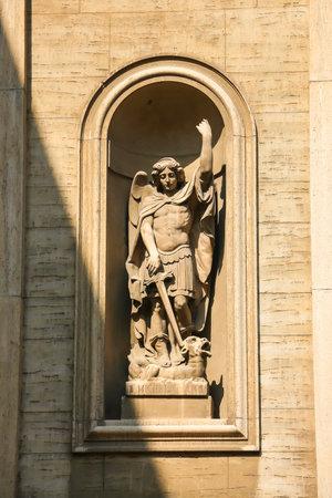 Piacenza, Italy - Circa September 2018. Beautiful architecture of catholic church  (Chiesa Cattolica Parrocchiale di San Pietro) in Piacenza.