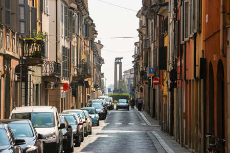 Piacenza, Italy - Circa September 2018. Beautiful architecture of Piacenza city centre in sunny day. Editoriali