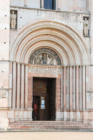 Parma, Italy - Circa September 2018. Baptistery of Parma. Details of architecture.