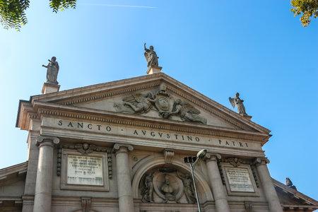 Piacenza, Italy - Circa September 2018. Beautiful architecture of catholic church (Chiesa di Sant'Agostino) in Piacenza.