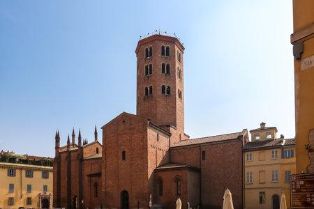 Piacenza, Italy - Circa September 2018. Beautiful architecture of catholic church Basilica of St. Antoninus (Basilica di Sant'Antonino) in Piacenza.