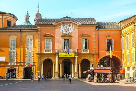 Reggio Emilia, Italy - Circa September 2018. Beautiful architecture of Reggio Emilia city center.