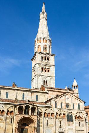 Modena, Italy - Circa September 2018. Beautiful architecture of Modena Cathedral (Duomo di Modena).
