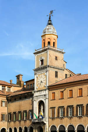 Modena, Italy - Circa September 2018. Beautiful architecture of Palazzo Comunale at Piazza Grande in Modena.