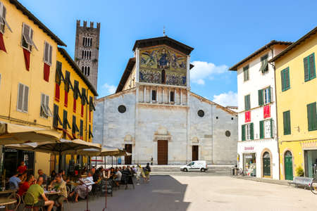 Lucca, Italy - Circa September 2018. Beautiful architecture of catholic church (Basilica di San Frediano) in Lucca.