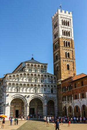 Lucca, Italy - Circa September 2018. Beautiful architecture of catholic church (Duomo di San Martino) in Lucca.