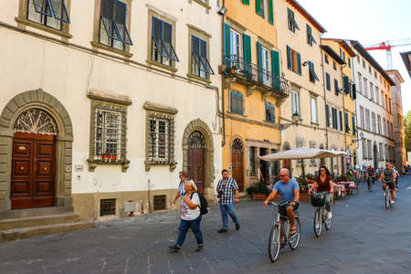 Lucca, Italy - Circa September 2018. People at the streets of Lucca.