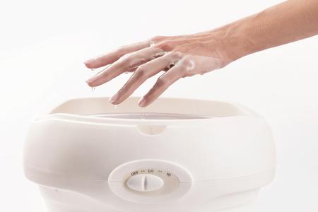 hands in paraffin or wax