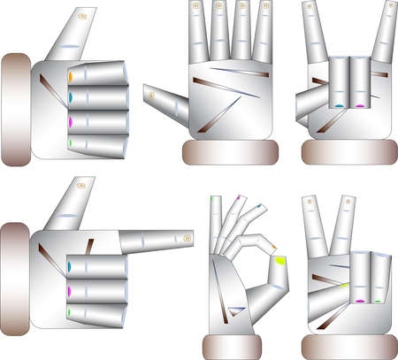 Various gestures of hands isolated on a white background. Vector illustration in different situations.