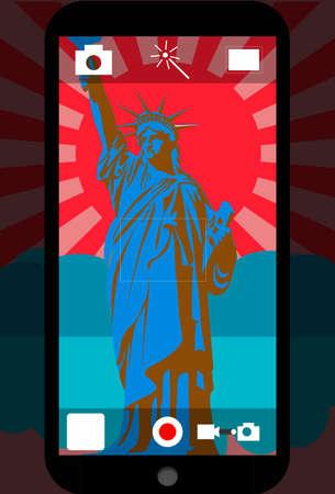 Smartphone Kamera in Frontansicht von Statue der Freiheit Standard-Bild - 80941739