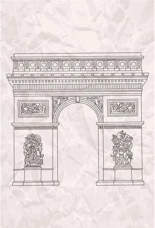 triumphal: Hand drawn arc de tiumph in Paris