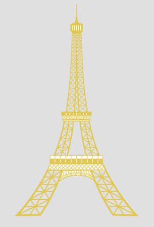 tower tall: Isolated gold eiffel tower in Paris vector Stock Photo