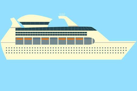 caribbean cruise: Concept of isolated Cruise ship vector in ocean