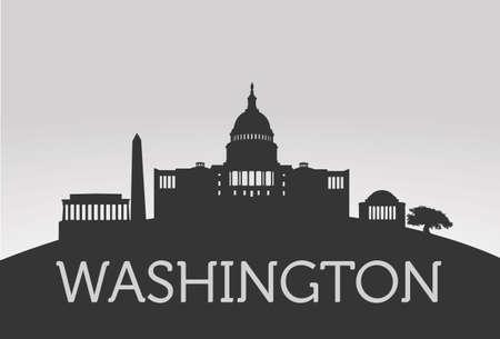 灰色の背景にシルエット ワシントン ベクトル概念