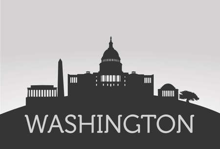 Silhouette Washington vector concept on grey background