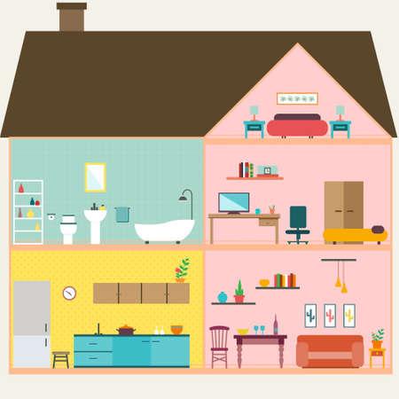 Huis binnen met kamers vector voor uw ideeën