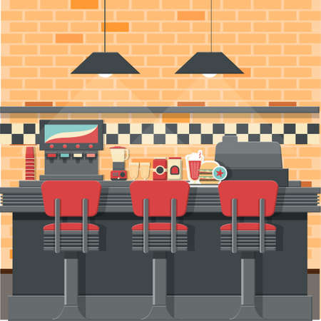 Vintage diner bar concept with isolated objects