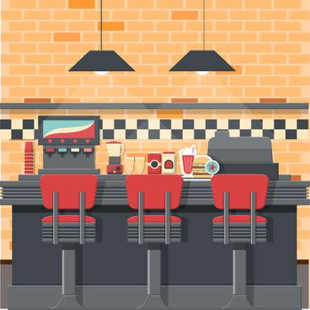 Vintage diner bar concepto con objetos aislados