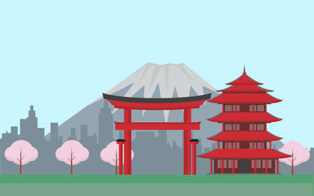 Concept of Japan with mountains with isolated objects