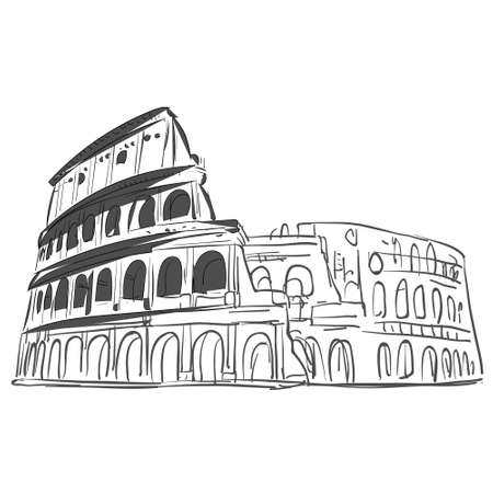 Coliseum hand drawn sketch vector for your ideas