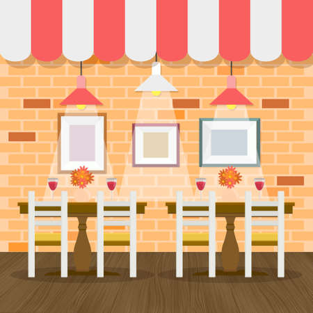 Restaurant interior with bricks wall vector for your ideas