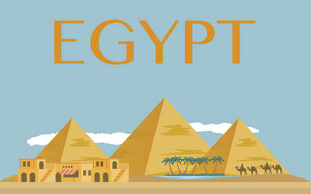Egyptian pyramids banner in desert with blue sky