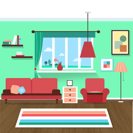 living room interior vector for your ideas