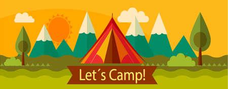 屋外分離 advenrute キャンプのバナーのコンセプト